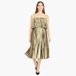 NWT J. Crew Gold Metallic Pleated Midi Dress